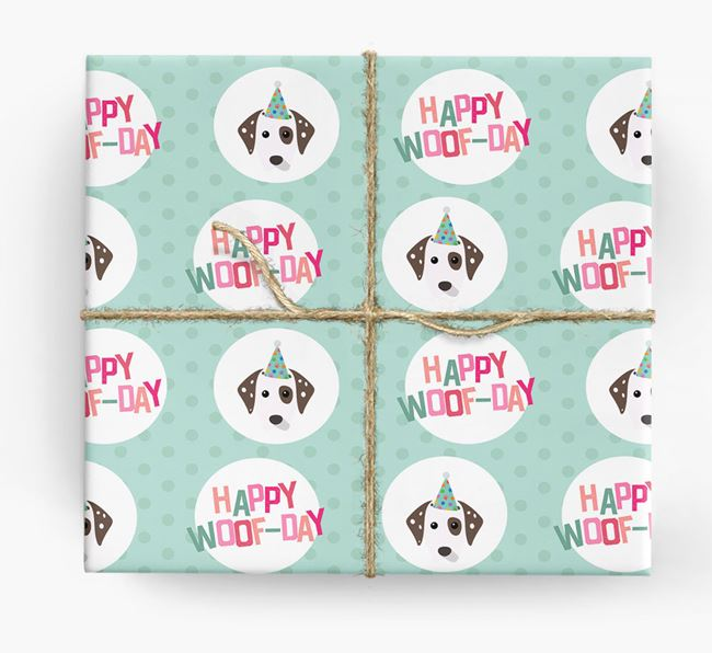 'Happy Woof-day' Wrapping Paper with Dalmatian Icons