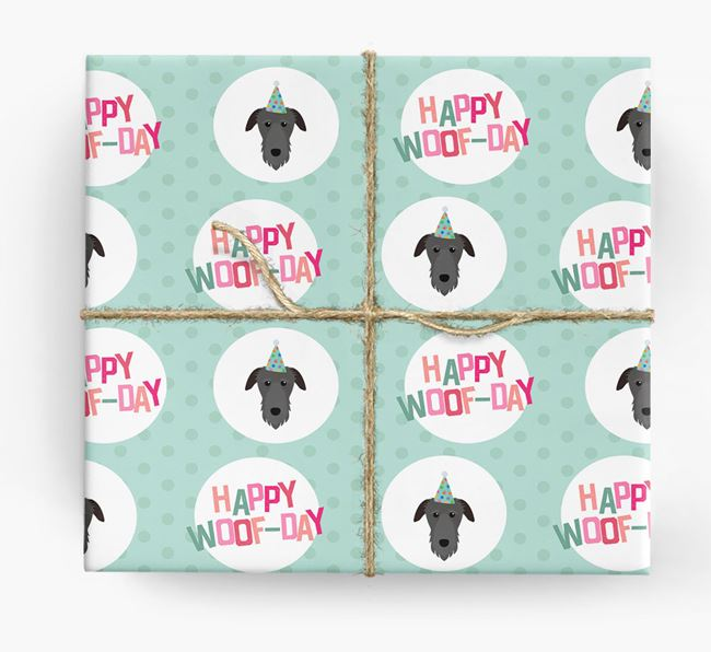 'Happy Woof-day' Wrapping Paper with Deerhound Icons