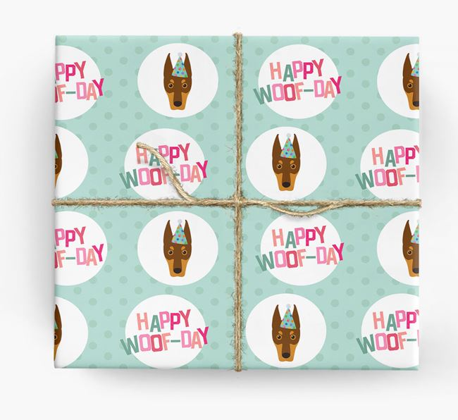 'Happy Woof-day' Wrapping Paper with Dobermann Icons