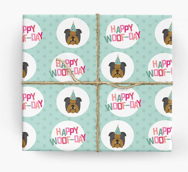 'Happy Woof-day' Wrapping Paper with English Bulldog Icons