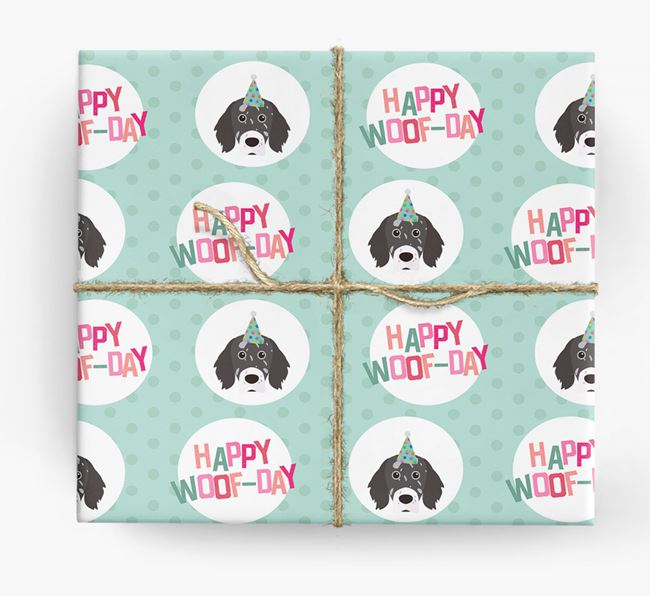 'Happy Woof-day' Wrapping Paper with English Setter Icons