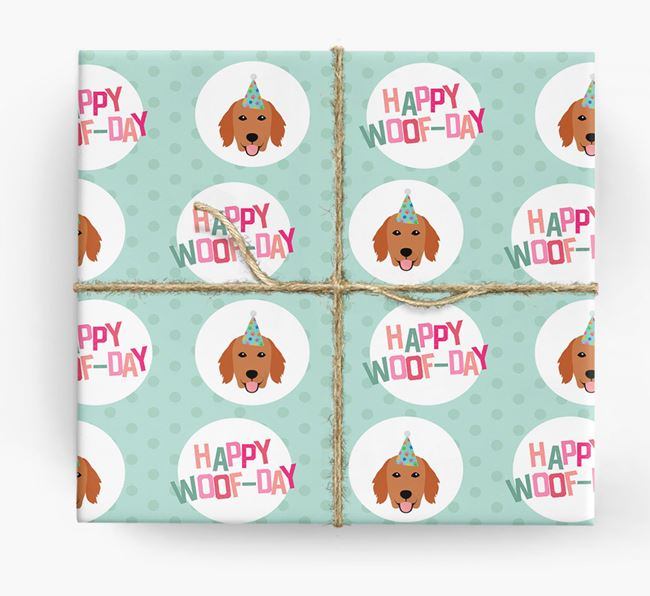 'Happy Woof-day' Wrapping Paper with Flat-Coated Retriever Icons