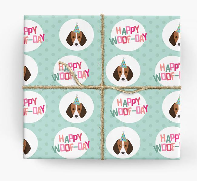 'Happy Woof-day' Wrapping Paper with Foxhound Icons