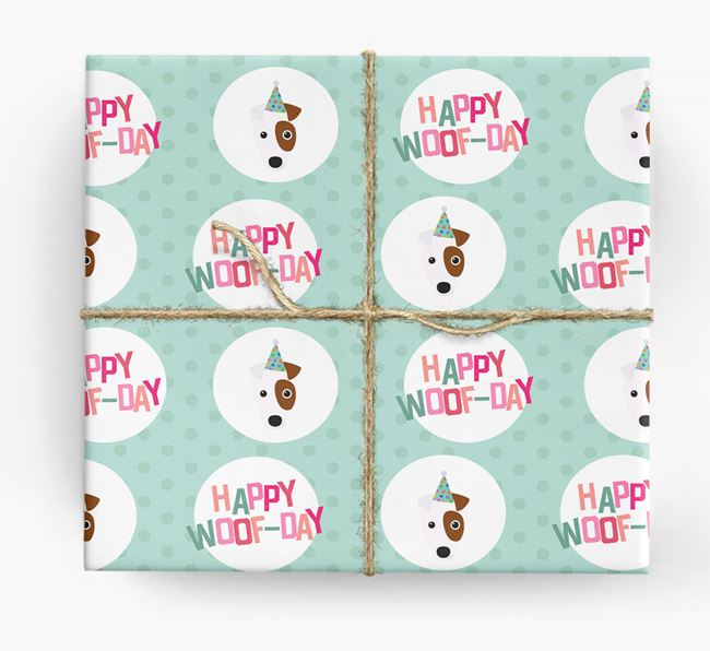 'Happy Woof-day' Wrapping Paper with Fox Terrier Icons