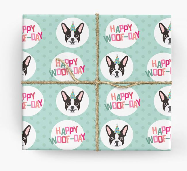'Happy Woof-day' Wrapping Paper with French Bulldog Icons