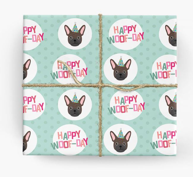 'Happy Woof-day' Wrapping Paper with Frug Icons