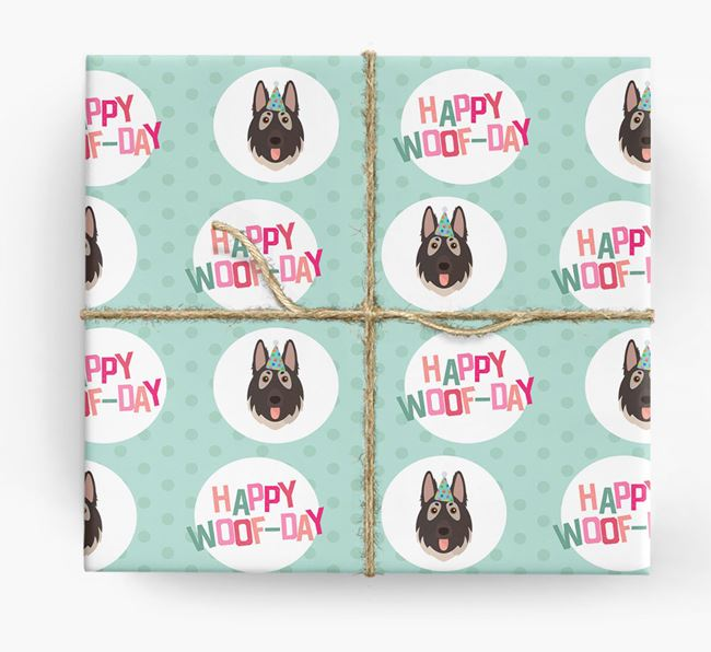 'Happy Woof-day' Wrapping Paper with German Shepherd Icons
