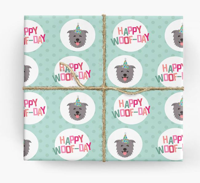 'Happy Woof-day' Wrapping Paper with Glen Of Imaal Terrier Icons