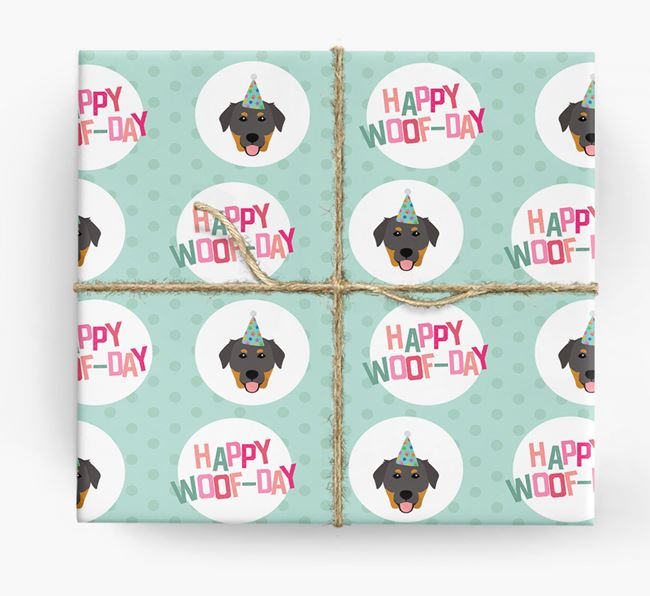 'Happy Woof-day' Wrapping Paper with Golden Labrador Icons