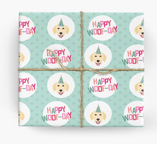 'Happy Woof-day' Wrapping Paper with Golden Retriever Icons