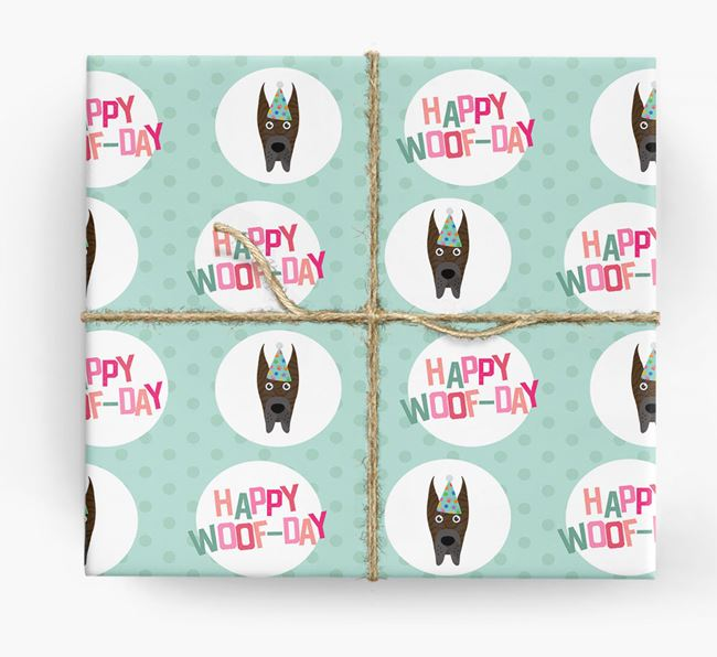 'Happy Woof-day' Wrapping Paper with Great Dane Icons