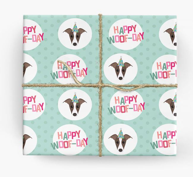 'Happy Woof-day' Wrapping Paper with Greyhound Icons