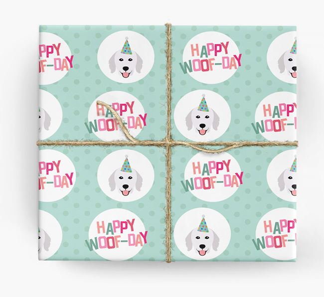 'Happy Woof-day' Wrapping Paper with Hungarian Kuvasz Icons