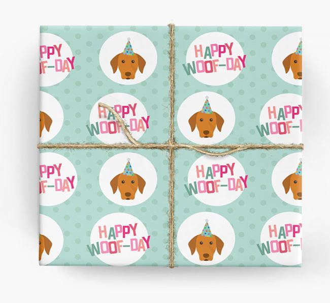 'Happy Woof-day' Wrapping Paper with Hungarian Vizsla Icons