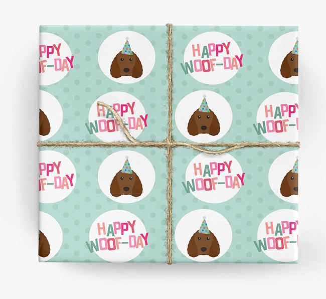 'Happy Woof-day' Wrapping Paper with Irish Water Spaniel Icons