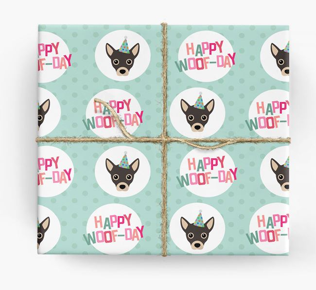 'Happy Woof-day' Wrapping Paper with Jackahuahua Icons