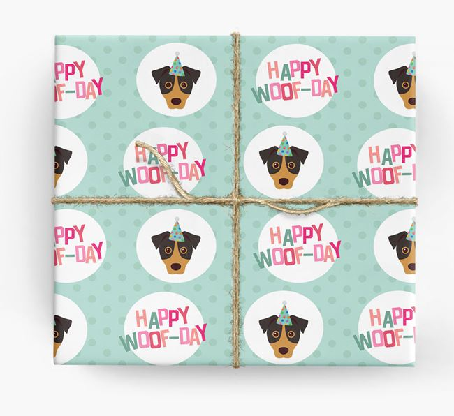 'Happy Woof-day' Wrapping Paper with Jack Russell Terrier Icons