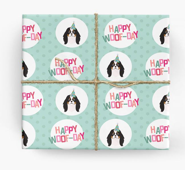 'Happy Woof-day' Wrapping Paper with Japanese Chin Icons