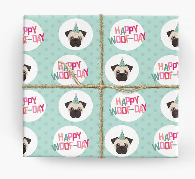 'Happy Woof-day' Wrapping Paper with Jug Icons
