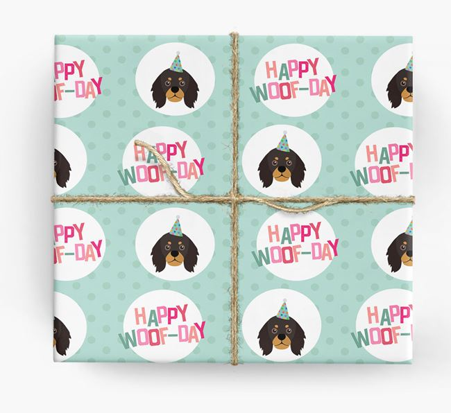 'Happy Woof-day' Wrapping Paper with King Charles Spaniel Icons