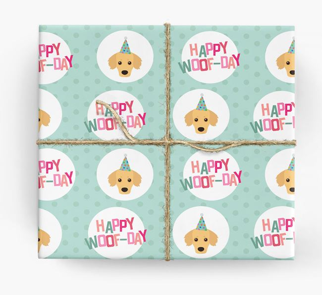 'Happy Woof-day' Wrapping Paper with Kokoni Icons