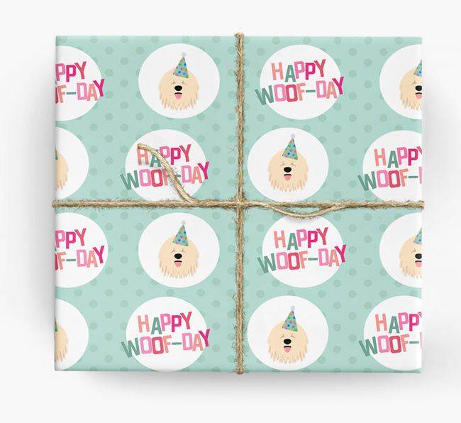 'Happy Woof-day' Wrapping Paper with Komondor Icons