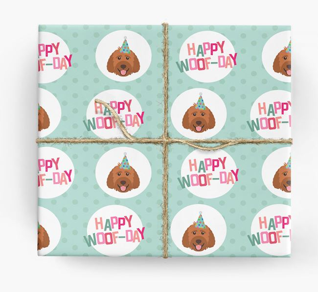'Happy Woof-day' Wrapping Paper with Labradoodle Icons