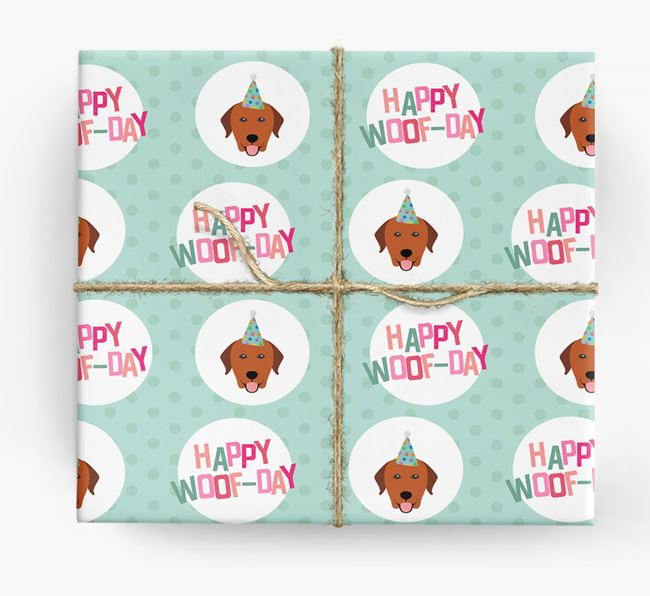 'Happy Woof-day' Wrapping Paper with Labrador Retriever Icons