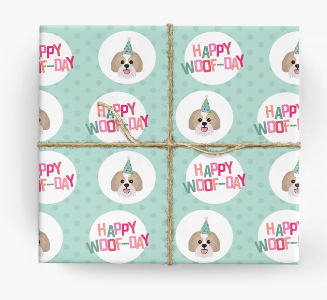 'Happy Woof-day' Wrapping Paper with Lachon Icons
