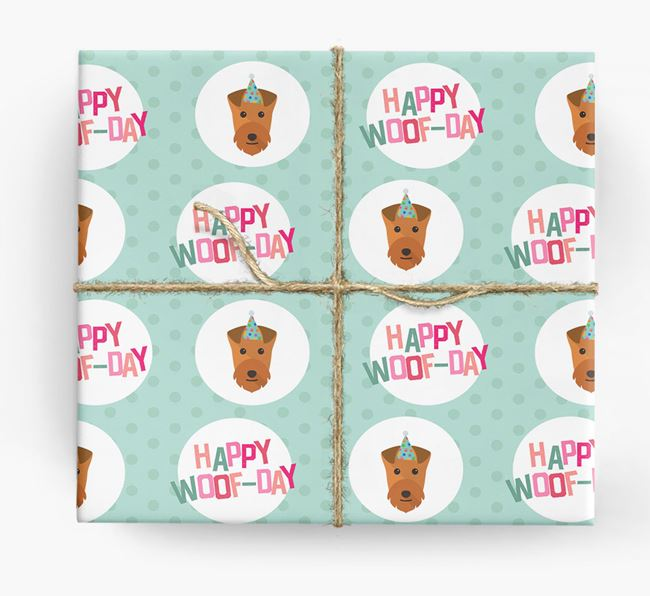 'Happy Woof-day' Wrapping Paper with Lakeland Terrier Icons