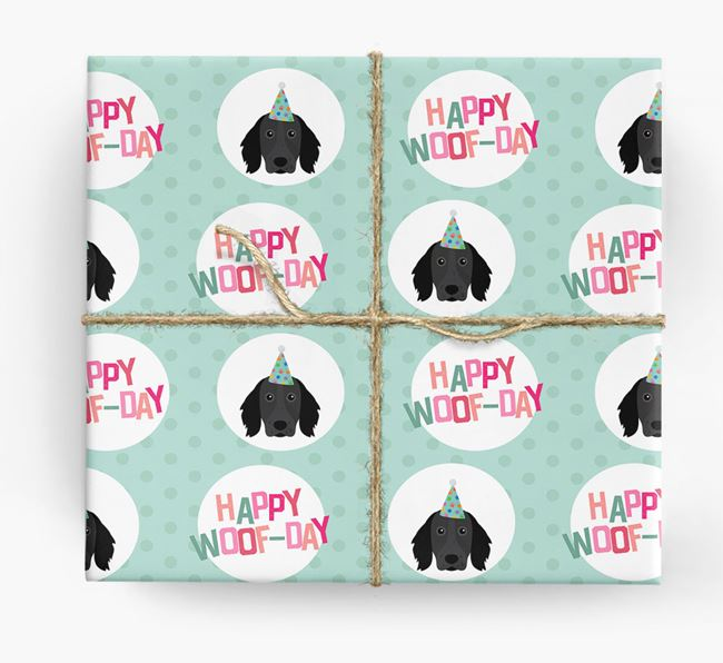 'Happy Woof-day' Wrapping Paper with Large Munsterlander Icons