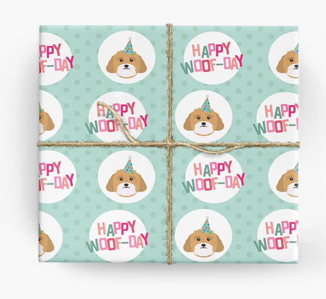 'Happy Woof-day' Wrapping Paper with Lhasa Apso Icons