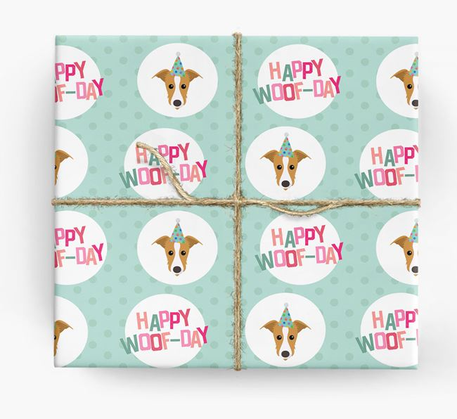 'Happy Woof-day' Wrapping Paper with Lurcher Icons