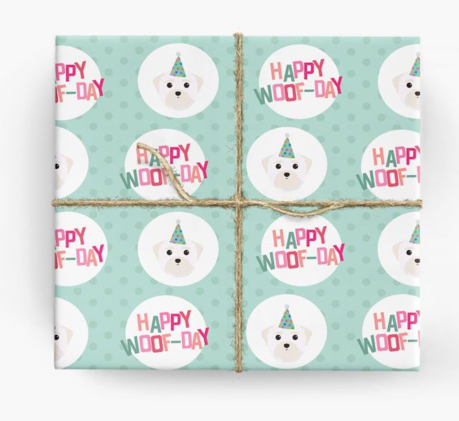 'Happy Woof-day' Wrapping Paper with Maltese Icons