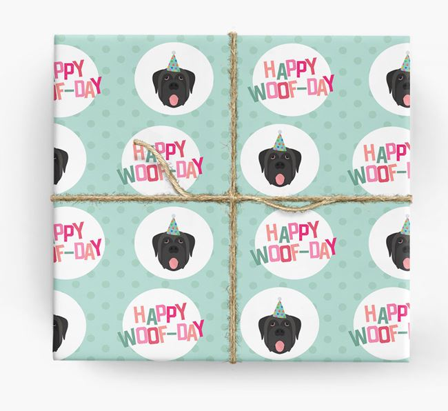 'Happy Woof-day' Wrapping Paper with Mastiff Icons
