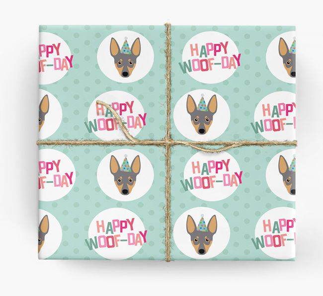 'Happy Woof-day' Wrapping Paper with Miniature Pinscher Icons