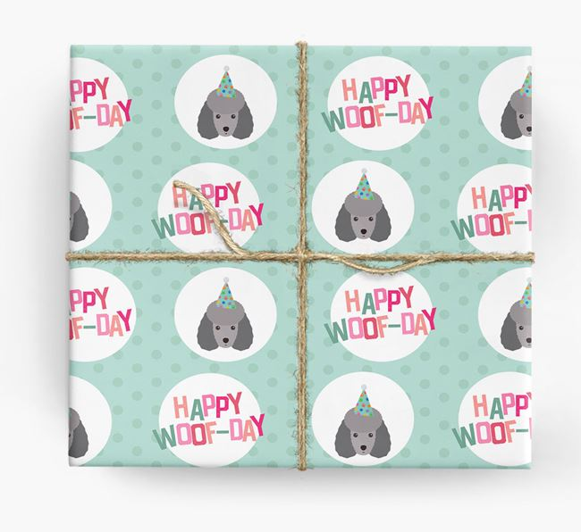 'Happy Woof-day' Wrapping Paper with Miniature Poodle Icons