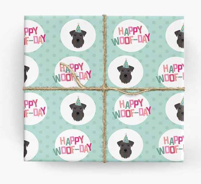 'Happy Woof-day' Wrapping Paper with Miniature Schnauzer Icons