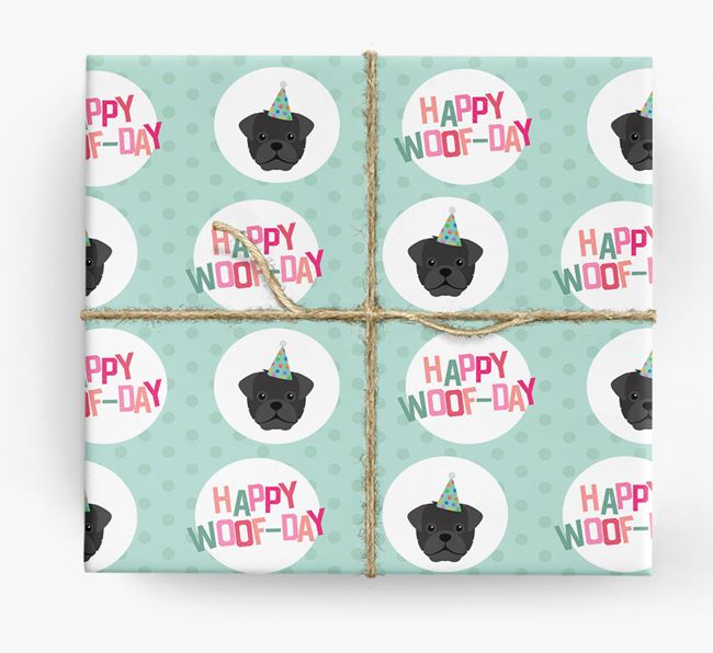 'Happy Woof-day' Wrapping Paper with Mixed Breed Icons