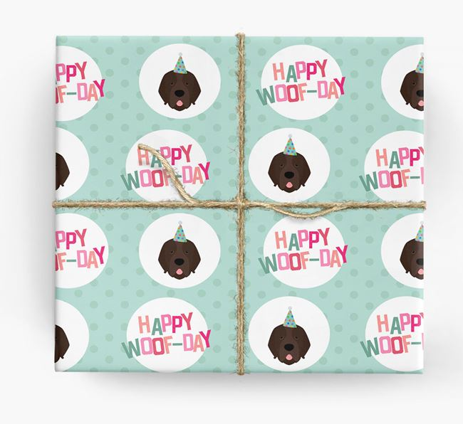 'Happy Woof-day' Wrapping Paper with Newfoundland Icons