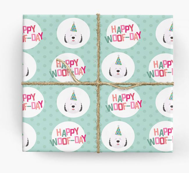 'Happy Woof-day' Wrapping Paper with Old English Sheepdog Icons