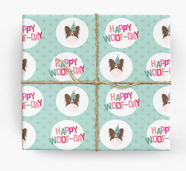 'Happy Woof-day' Wrapping Paper with Papillon Icons