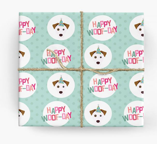 'Happy Woof-day' Wrapping Paper with Parson Russell Terrier Icons
