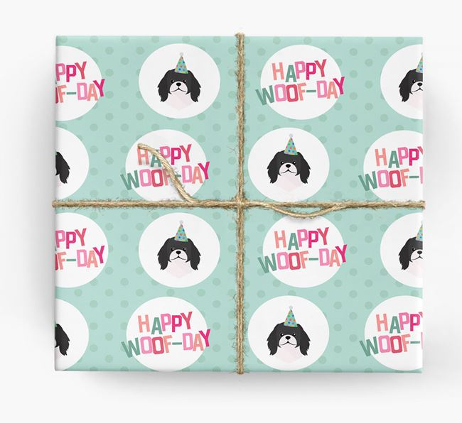 'Happy Woof-day' Wrapping Paper with Pekingese Icons