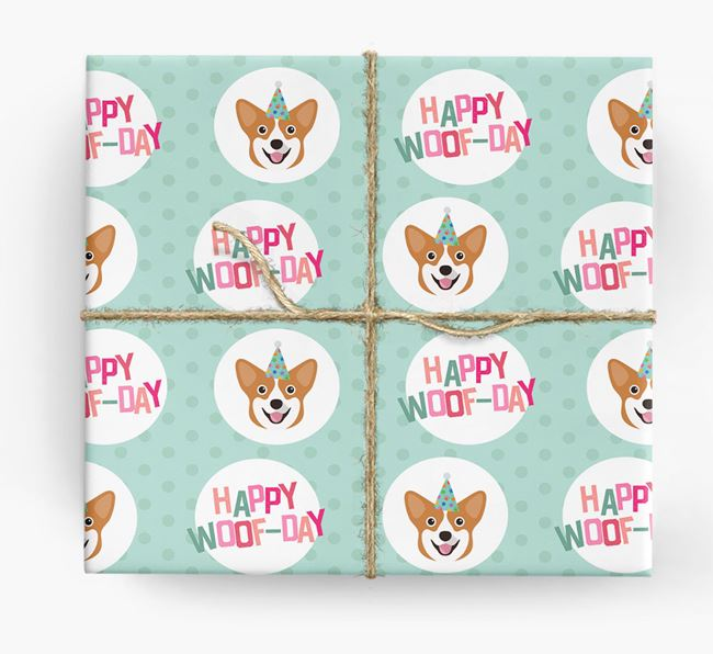 'Happy Woof-day' Wrapping Paper with Pembroke Welsh Corgi Icons
