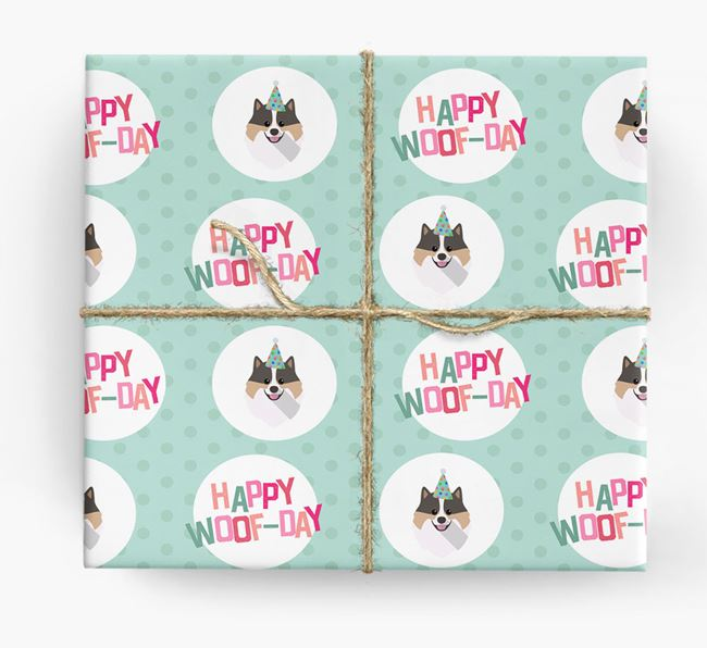 'Happy Woof-day' Wrapping Paper with Pomeranian Icons