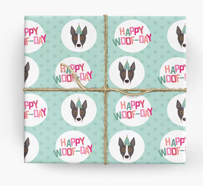 'Happy Woof-day' Wrapping Paper with Portuguese Podengo Icons