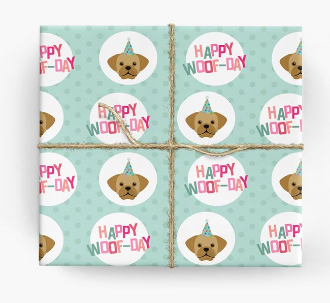 'Happy Woof-day' Wrapping Paper with Puggle Icons