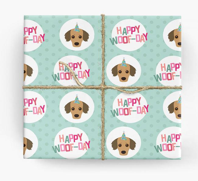 'Happy Woof-day' Wrapping Paper with Rescue Dog Icons