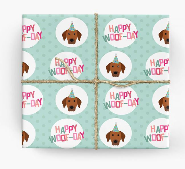 'Happy Woof-day' Wrapping Paper with Rhodesian Ridgeback Icons